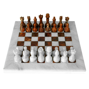 Table Chessboard in Natural White and Red Marble 20x20cm