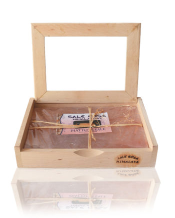 Himalayan Pink Salt Plate 30x20cm with Wooden Box